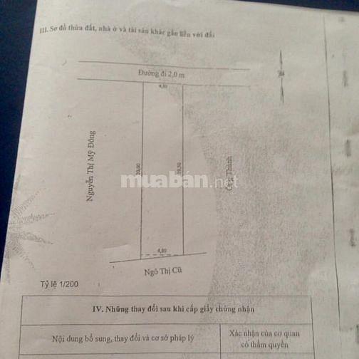 Bán đất  (4,8m x 20m), mặt tiền đừơng 2m tại Mỹ Tho, Tiền Giang